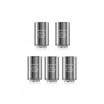 Pack de 5 resistances Lyche NotchCoil SS316 0.25 ohms Eleaf