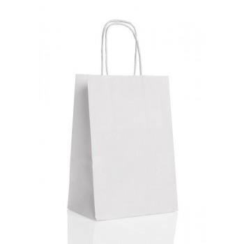 Sac Papier Kraft poignée tressée et soufflet 25X32 Blanc