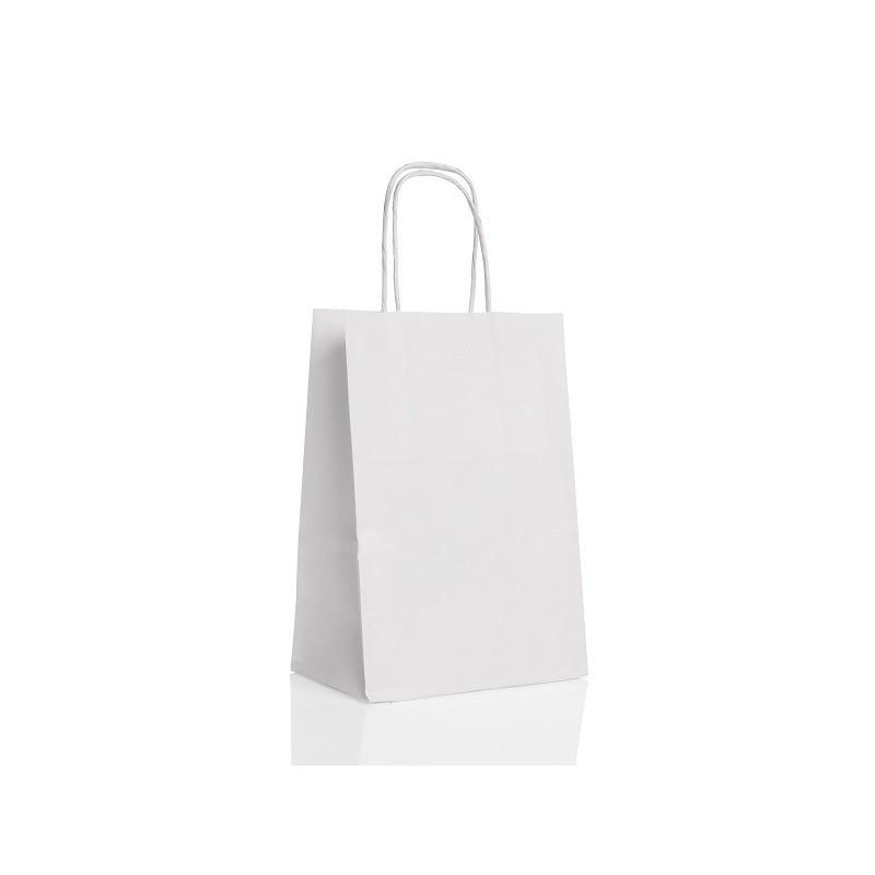 sac papier kraft poignee tressee et soufflet 25x32 blanc adns. Black Bedroom Furniture Sets. Home Design Ideas